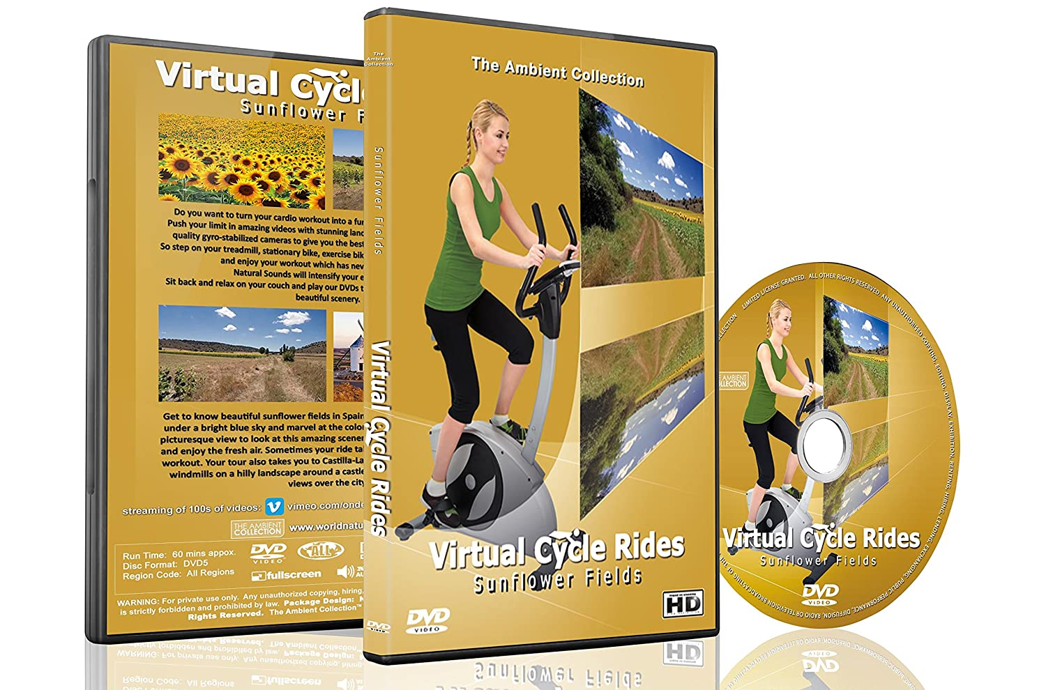 Amazon.com: Virtual Cycle Rides DVD - Sunflower Fields - for Indoor Cycling, Treadmill and Running Workouts: The Ambient Collection, Treadmill and Fitness ...