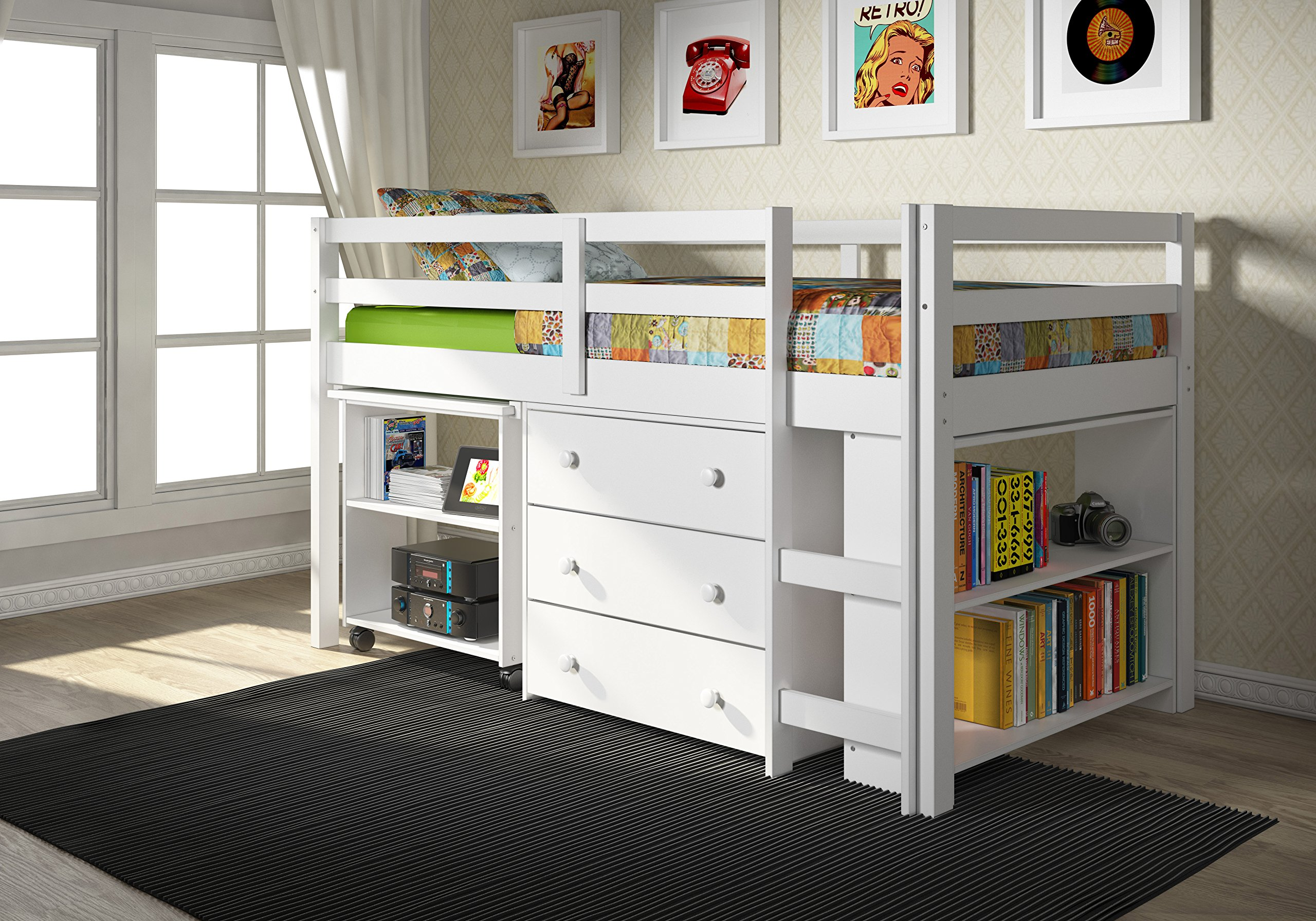 Donco Kids Low Study Loft Bed, White by DONCO KIDS