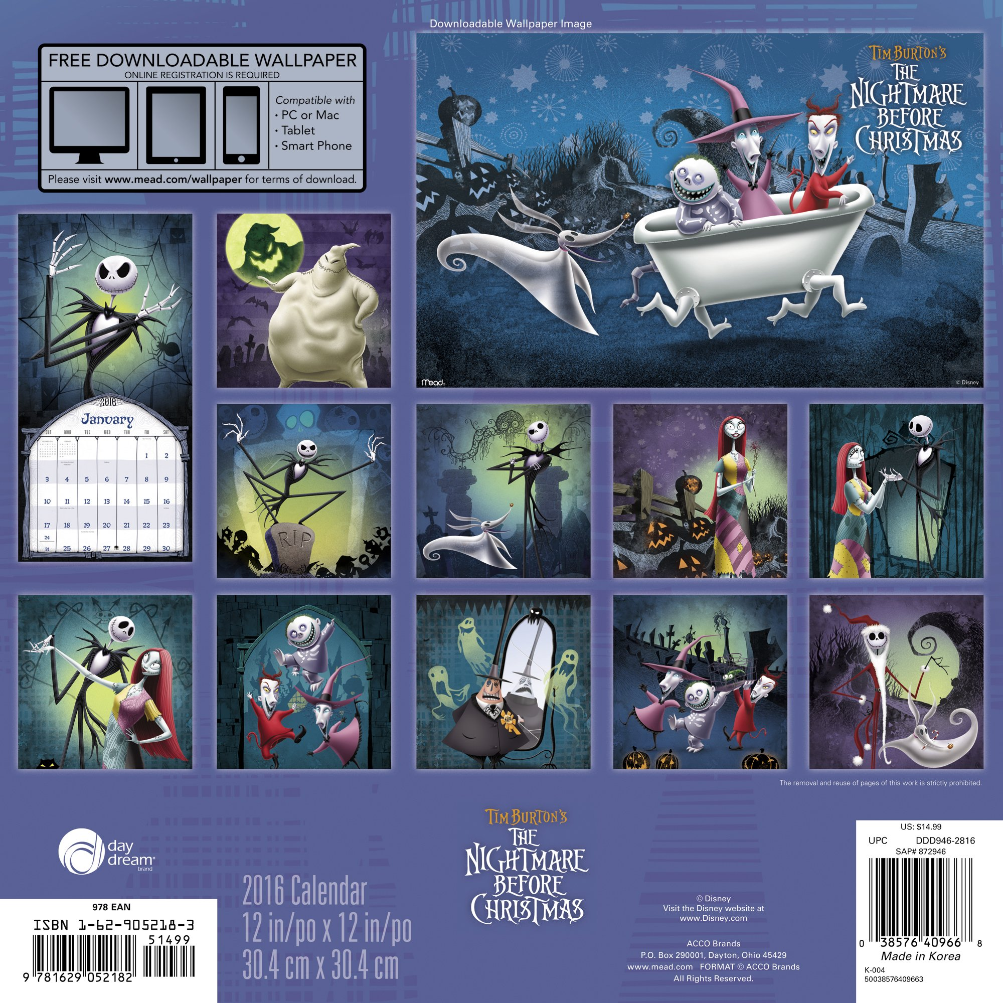 Tim Burton's the Nightmare Before Christmas 2016 Calendar: Free ...