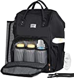 Diaper Bag Backpack by Zohzo - Baby Diaper Bags with Changing Pad and Stroller Straps - Large Designer Diaper Backpack for Boys and Girls - Waterproof & Insulated for Travel- Nappy Bag for Mom (Black)