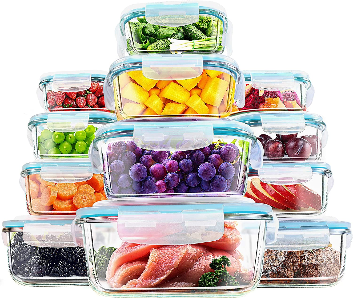 Utopia Kitchen- 24 Piece Glass Food Storage Container (12 containers,12 transparent lids)- Stackable & Leak-proof- BPA Free locking lids- Easy to store food & carry on the go- From Oven to the Table