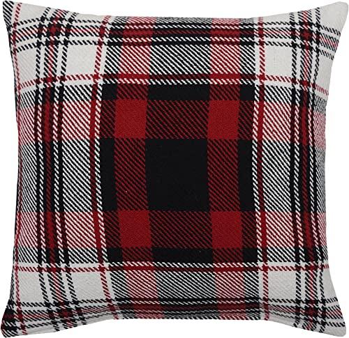 C F Home Fireside Plaid Rustic Lodge Holiday Woven Decorative Pillow 18 x 18 Red