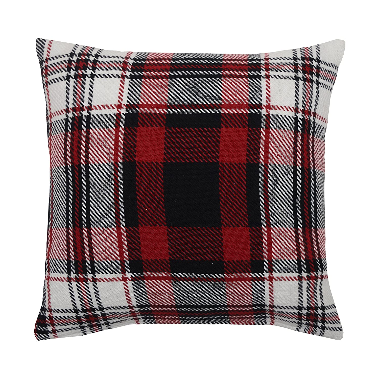 Red, black, and white plaid throw pillow