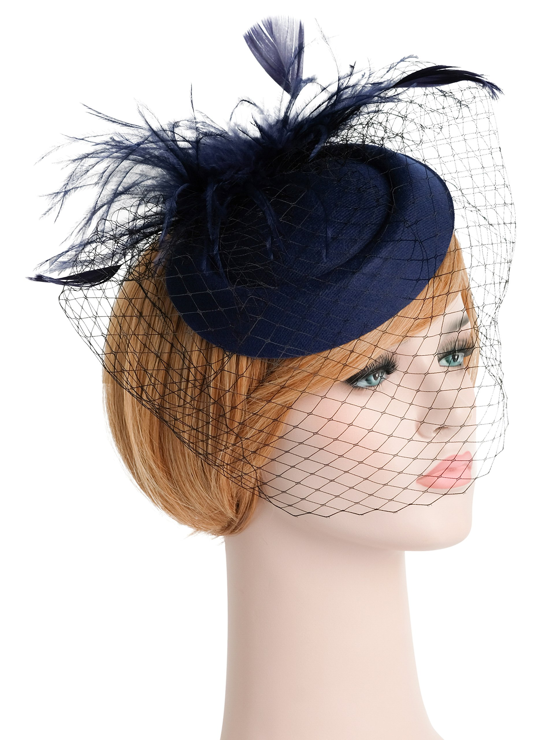 Zivyes Fascinators Hats 20s 50s Accessories Derby Hat Cocktail Tea Party Pillbox Headwear with Veil for Girls and Women
