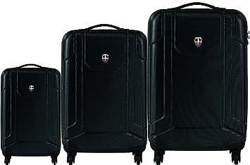 Ellehammer - Reykjavik - Set de 3 maletas rígidas con ruedas - Incluye maleta de mano - Negro: Amazon.es: Equipaje