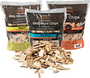 Camerons Wood Smoker Chips, 3 Pack ~ 2 lb. Bag, 260 cu. in. - Apple, Cherry, Hickory - 100% Natural, Fine Wood Smoking and Barbecue Chips