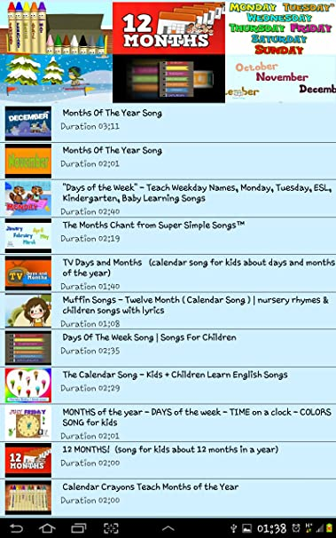 Amazon com: calendar song: Appstore for Android
