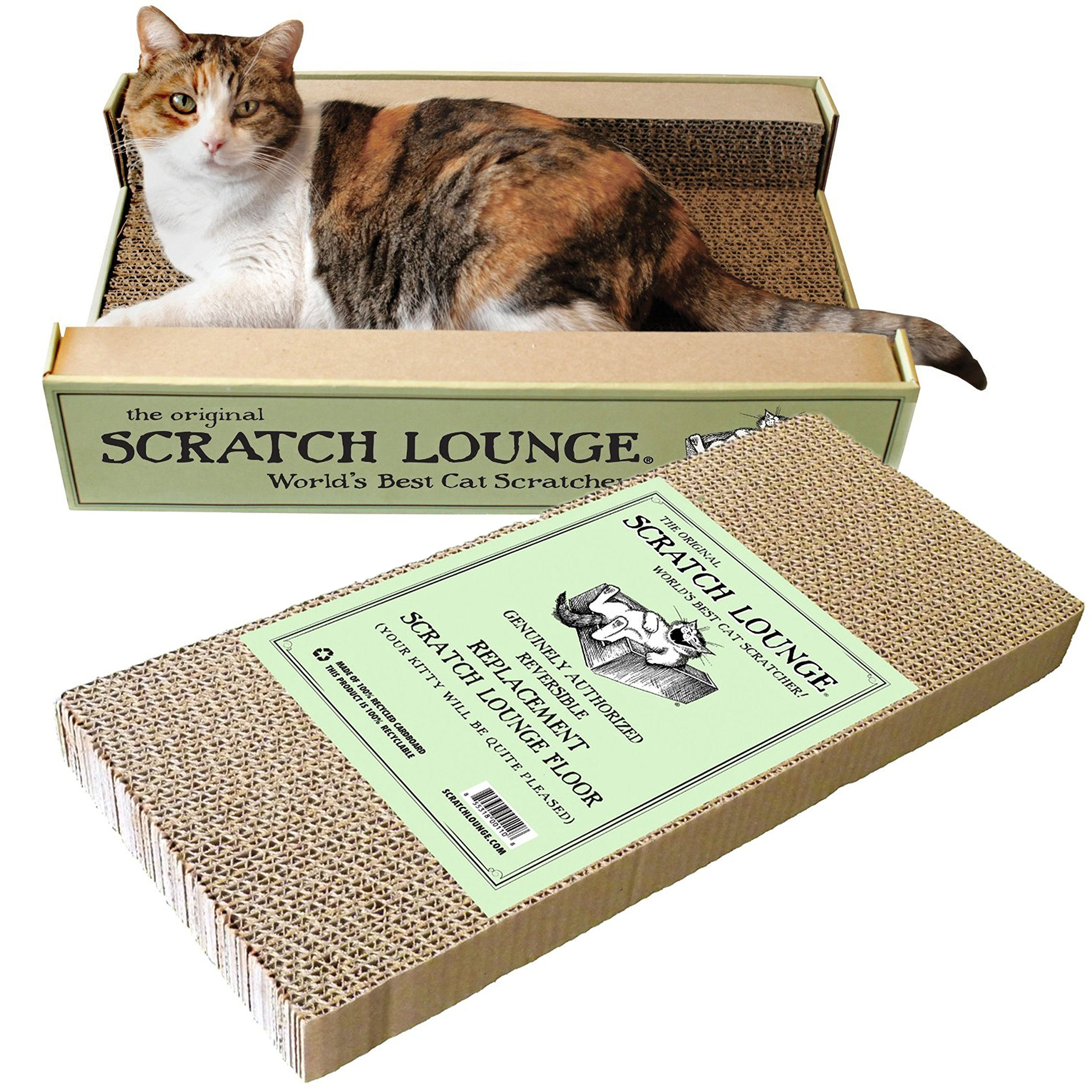 Scratch Lounge - Reversible Cardboard Cat Scratcher with Floor Refill and Catnip