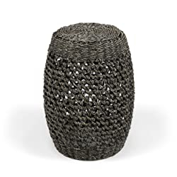 Teresa Coffee Finish Seagrass Wicker End Table