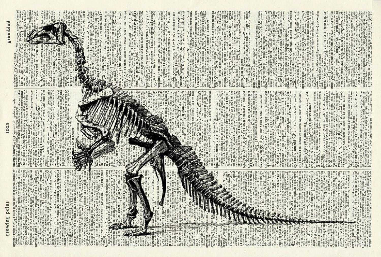 Dinosaur Art Print - Vintage Art Print - Dinosaur Skeleton - Vintage Dictionary Art Print - Paleontology Art Print - Black & White - Book Art Print - Wall Art - Illustration - Picture - Wall Hanging - Home Décor - Housewares - Book Print - Artwork 751