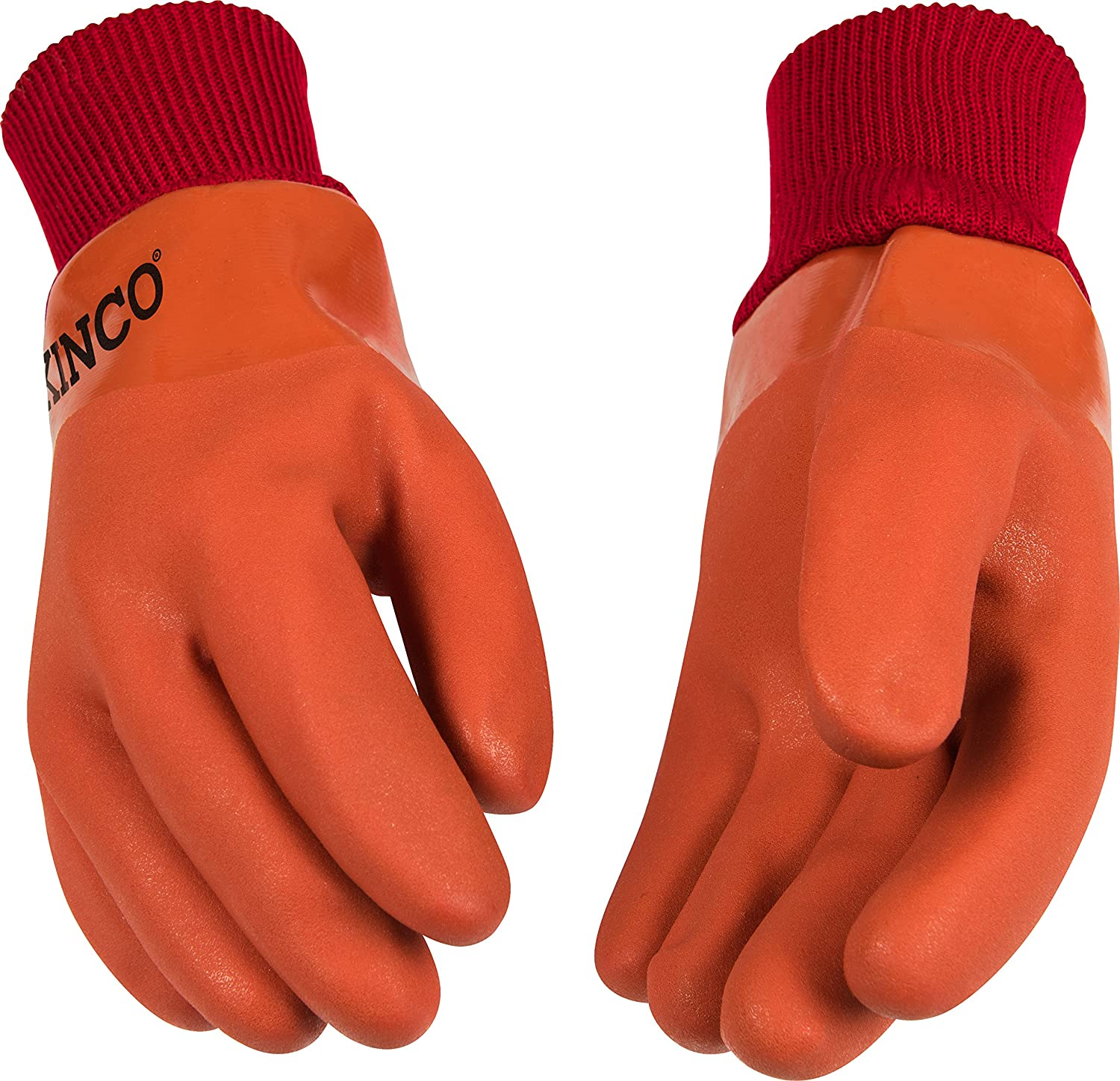 Large KINCO 8170-L Mens Lined PVC Gloves Orange Thermal Acrylic Lining