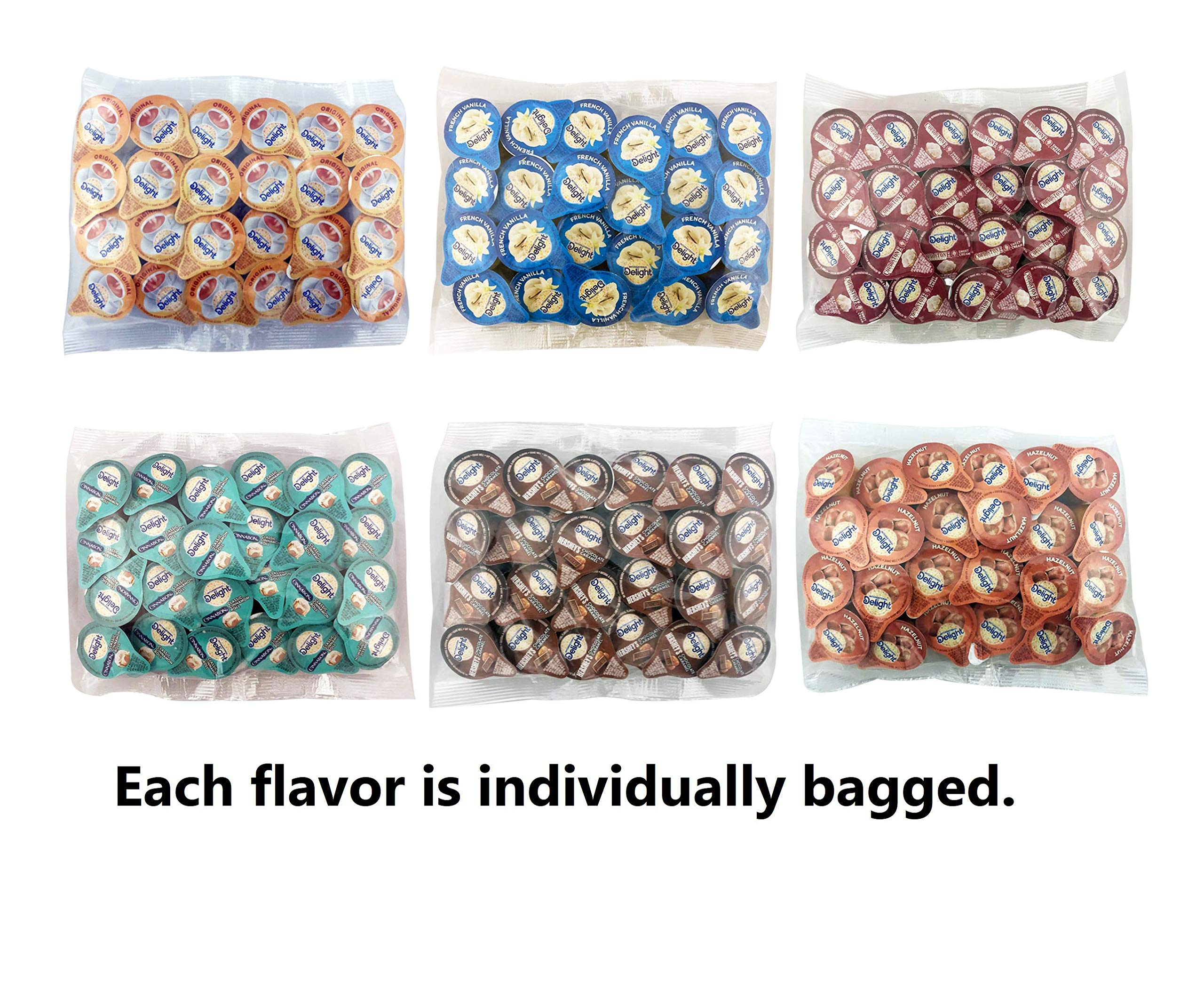 International Delight Non-Dairy Liquid Creamer Singles - 6 Flavor Assortment (144 Pack)NEW Custom Leak Resistant Packaging