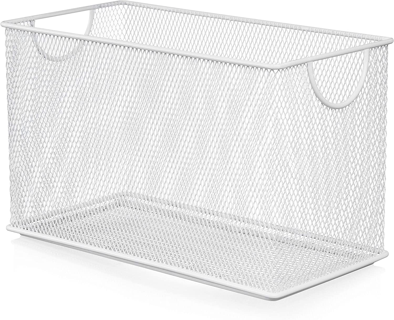 YBM HOME Household Wire Mesh Open Bin Shelf Storage Basket Organizer for Kitchen, Cabinet, Fruits, Vegetables, Pantry Items Toys 2530 (1, 10.75 x 5.5 x 6.5)