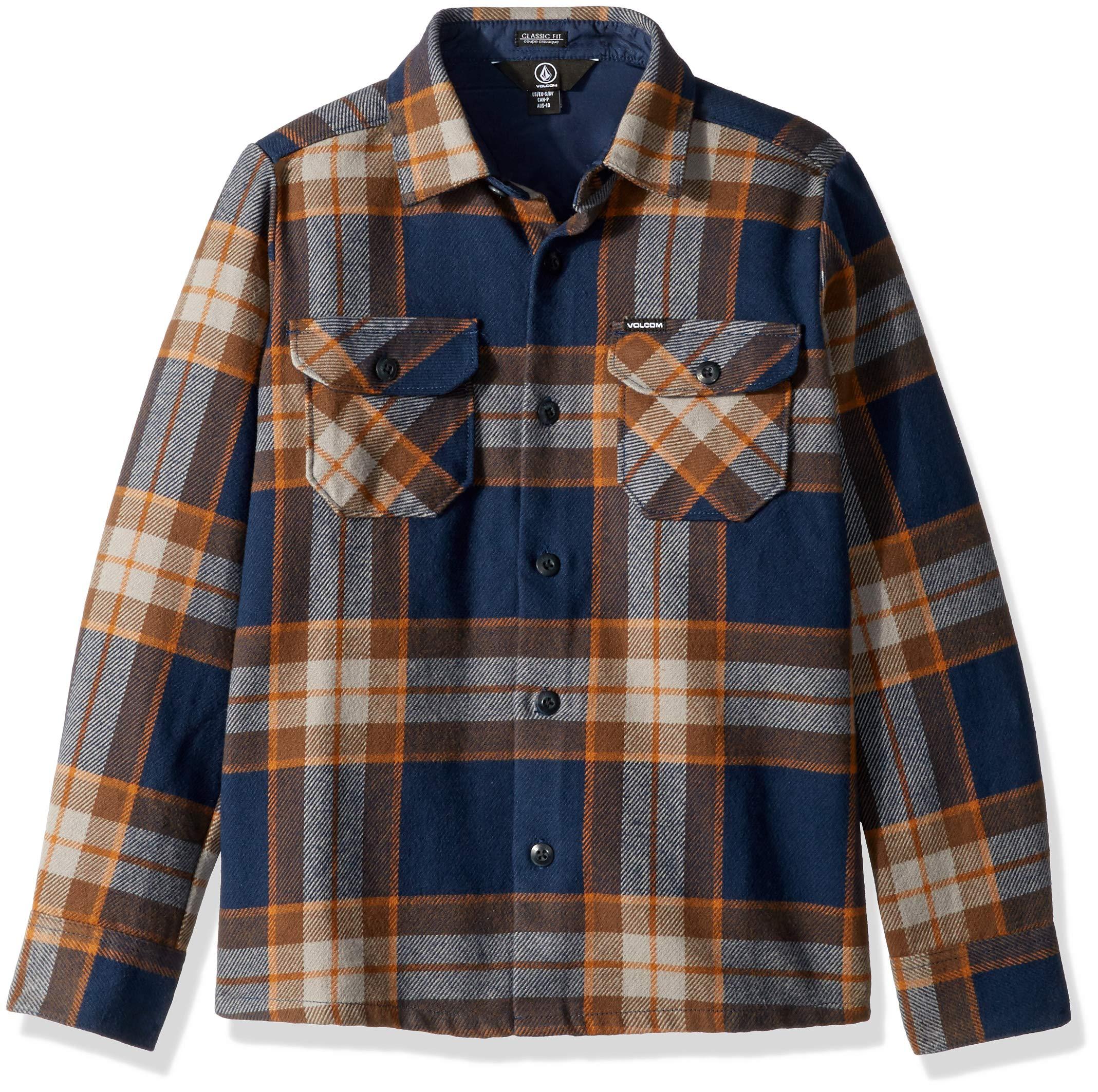Volcom Boys' Big Randower Long Sleeve Flannel Button Up Shirt, MELINDIGO, Medium