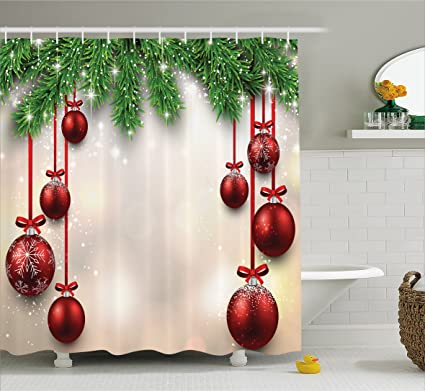 Ambesonne Christmas Decorations Shower Curtain Xmas Inspired Winter Season Theme Fir Twigs And Vibrant Balls