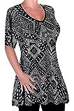 Eyecatch - Womens Print V Neck Blouse Tunic Ladies Swing Flared T-Shirt Top