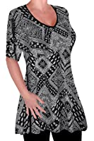 EyeCatch - Womens Print V Neck Blouse Tunic Ladies Swing Flared T-Shirt Top