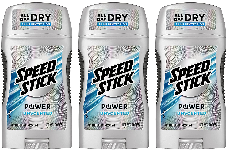 Speed Stick Anti-Perspirant Deodorant, Unscented 3 oz (Pack of 3)
