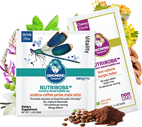NUTRIBOBA Superfood Weight Loss Arabica Coffee Latte, Fat Burn Stress Relief Organic Yerba Mate Maca Mushrooms – Complete Vegan Protein Gluten-Free Meal Supplement, 10 Bubble Tea Lattes