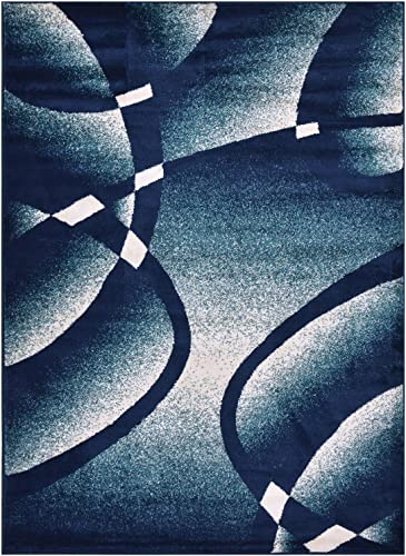 Comfy Collection Stripes Swirl Abstract Design Area Rug Modern Contemporary Rug 2 Color Options Navy Blue, 4 11 x 6 11