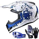 GLX Youth/Kids Motocross Dirt Bike ATV Helmet DOT Certified Lightweight Off Road+Gloves+Goggles (L)