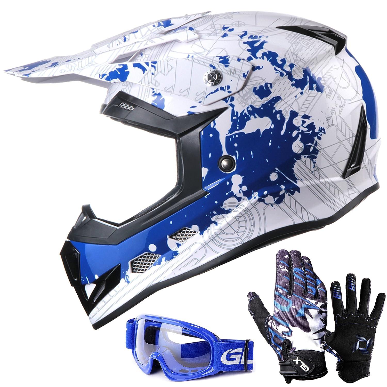 GLX youth & kids Motocross/ATV/Dirt Bike 3-pc Gear Combo - Helmet, Gloves & Goggles - DOT Certified (Medium, Modern Blue & White) Galaxy Helmets GX623