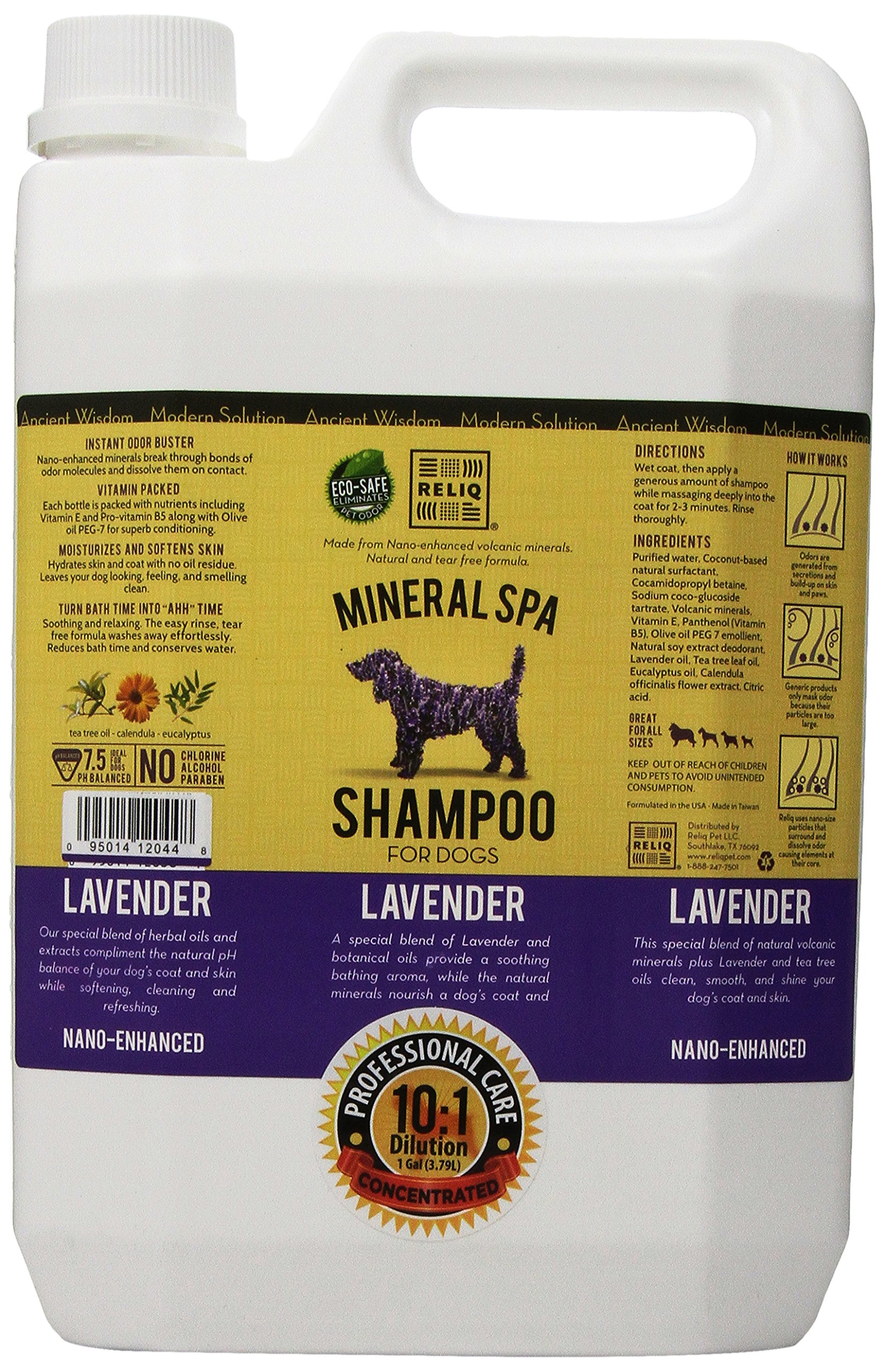 RELIQ Mineral SPA Shampoo for Dogs, 1-Gallon, Lavender