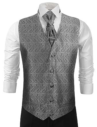 Wedding Vest Set . Silver Gray Paisleys . Tuxedo Vest with Tie and ...