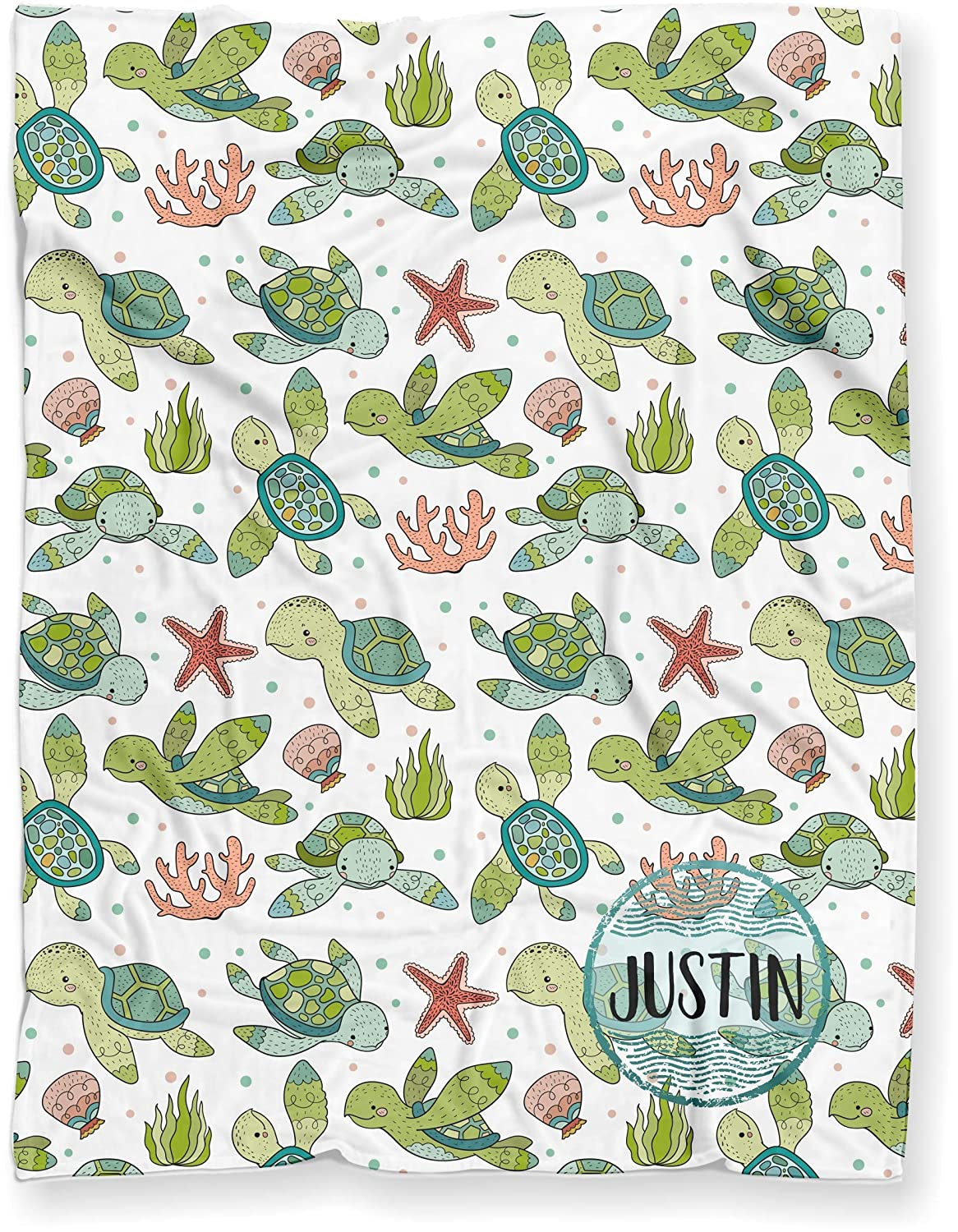 B07MXDLHTL Luxuriously Soft Personalized Baby Name Blanket for Nursery Crib Throw or Toddler Bed | Cute Sea Turtles and Starfish Nautical Theme Minky Blanket for Baby Girl or Boy 91ruzkVtr7L