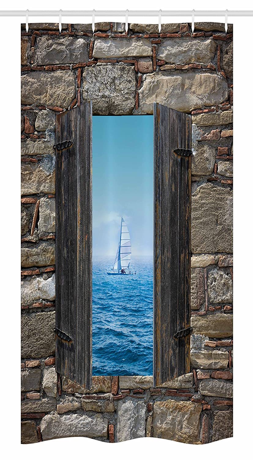 Amazon.com: Ambesonne Nautical Stall Shower Curtain, Image of A ...