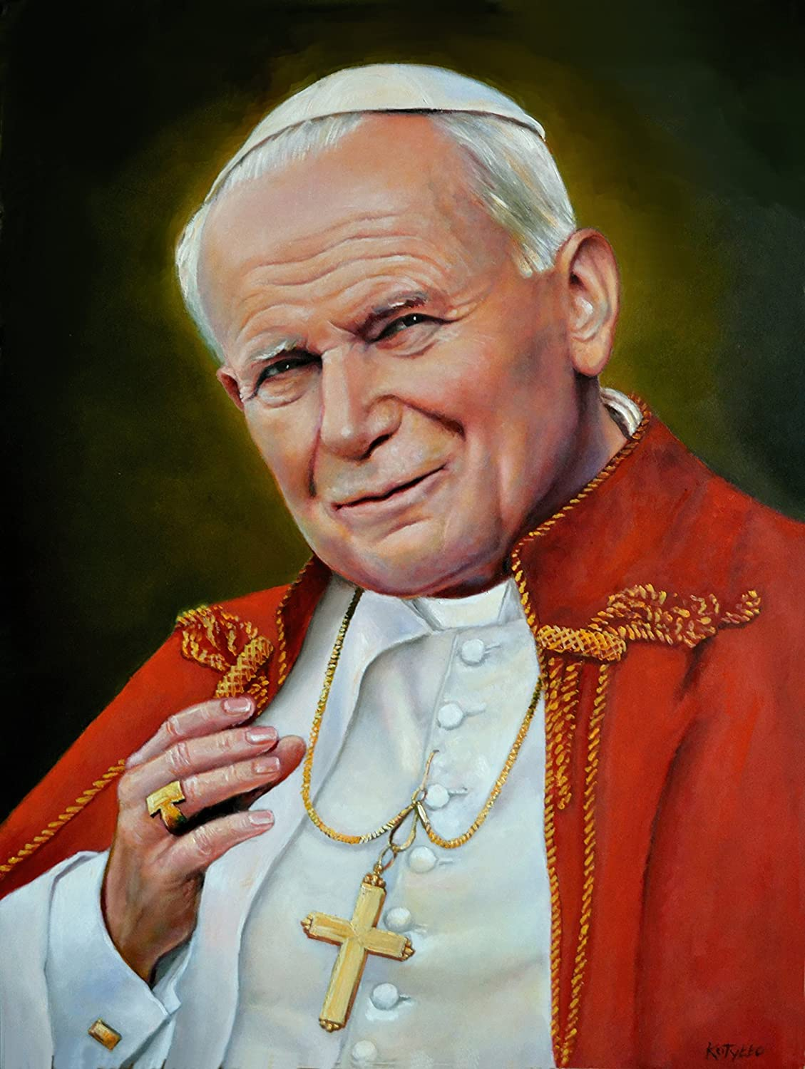 Amazon Com Pope John Paul Ii Poster Picture Print A3 Catholic Religious Oil Portrait Paintings Christian Holy Wall Art Decor For Home Room Chapel Handmade