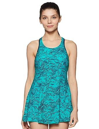 812beade55 Speedo Female Swimwear All Over Print Racerback Swimdress with Boyleg  (808876B353_Jade / Navy_32)