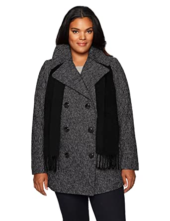 0607dc07d1a Amazon.com  London Fog Women s Plus-Size Double Breasted Peacoat with  Scarf  Clothing