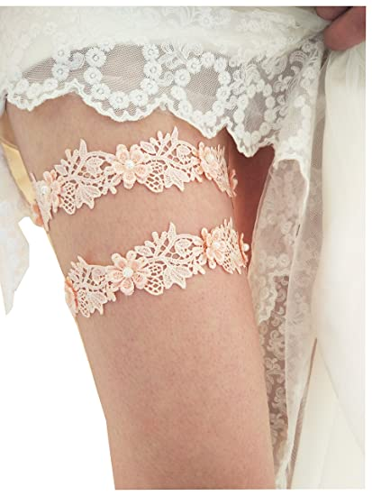 6d3a9a3b5 Amazon.com  lace vintage wedding garter bridal garter set S11 (Blush ...