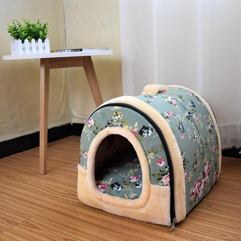 HAPPYX 2 en 1 Nido de mascotas,Multifuncional felpa caliente Antideslizante Plegable Desmontable con cojín extraíble Perro Gato Perrito Conejo cueva cama ...