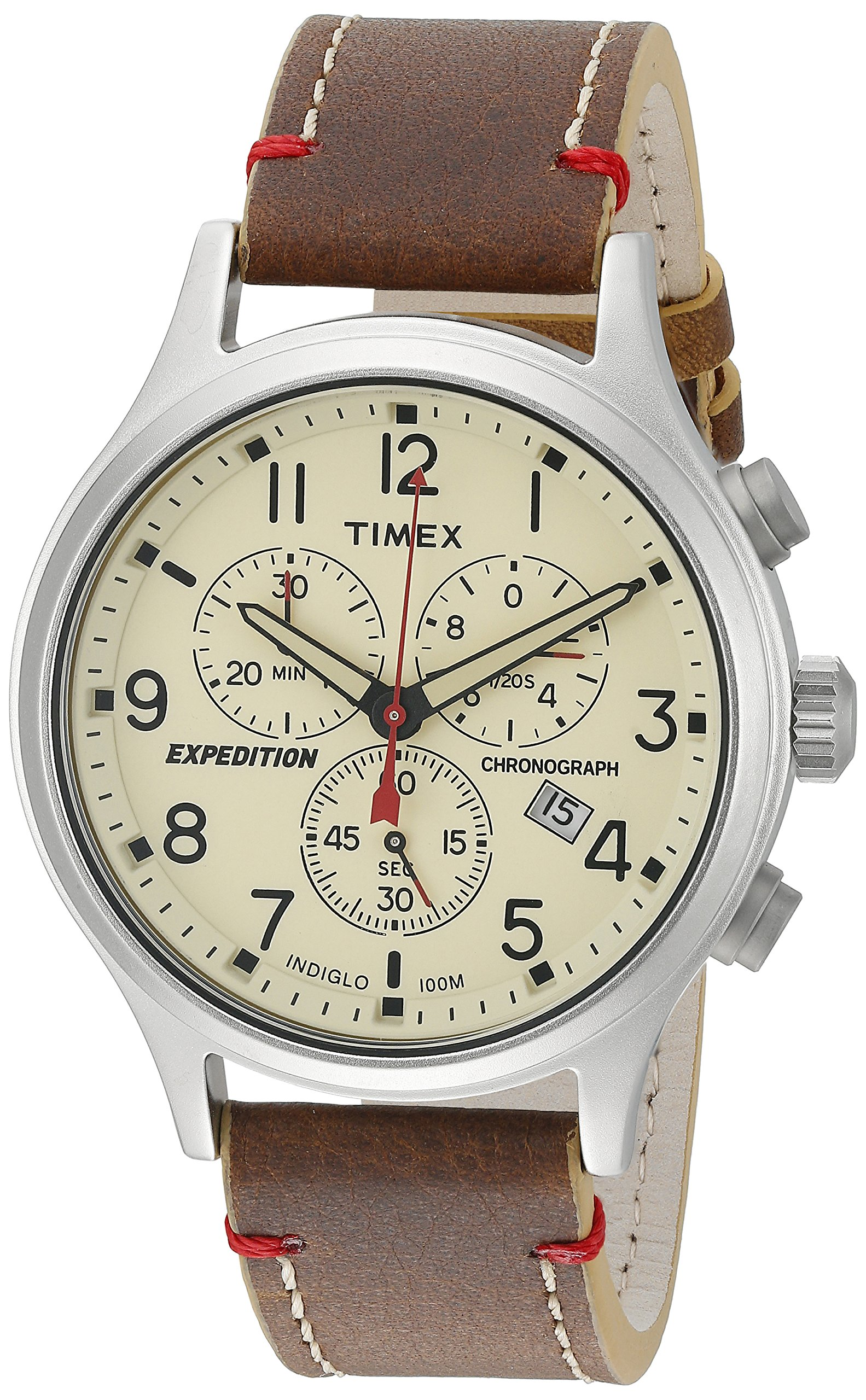 Timex Men's TW4B04300 Expedition Scout Chrono Brown/Natural Leather Strap Watch by Timex