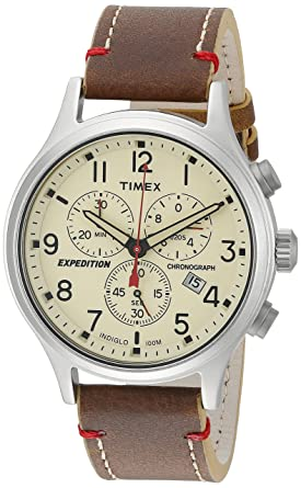 f4f2abd86777 Timex Men s TW4B04300 Expedition Scout Chrono Brown Natural Leather Strap  Watch