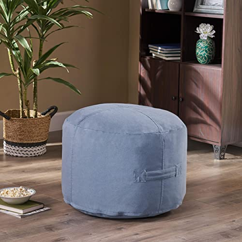 Christopher Knight Home Tammy Indoor Water Resistant 2 Ottoman Pouf, Blue