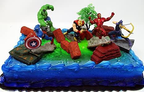 Amazoncom Avengers 15 Piece Birthday Cake Topper Set Featuring