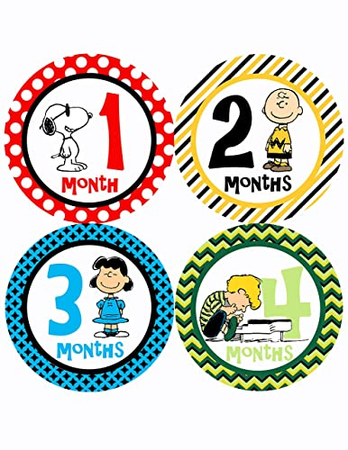 Peanuts Snoopy Baby Monthly Onesie Stickers Baby Shower Gift Photography  Prop (12 Stickers)