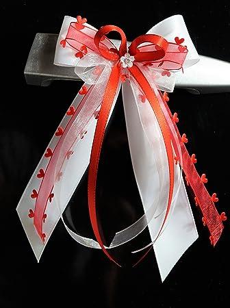 10 Antennenschleifen Autoschleife Autoschmuck Hochzeit SCH0132 weiß rosa pink
