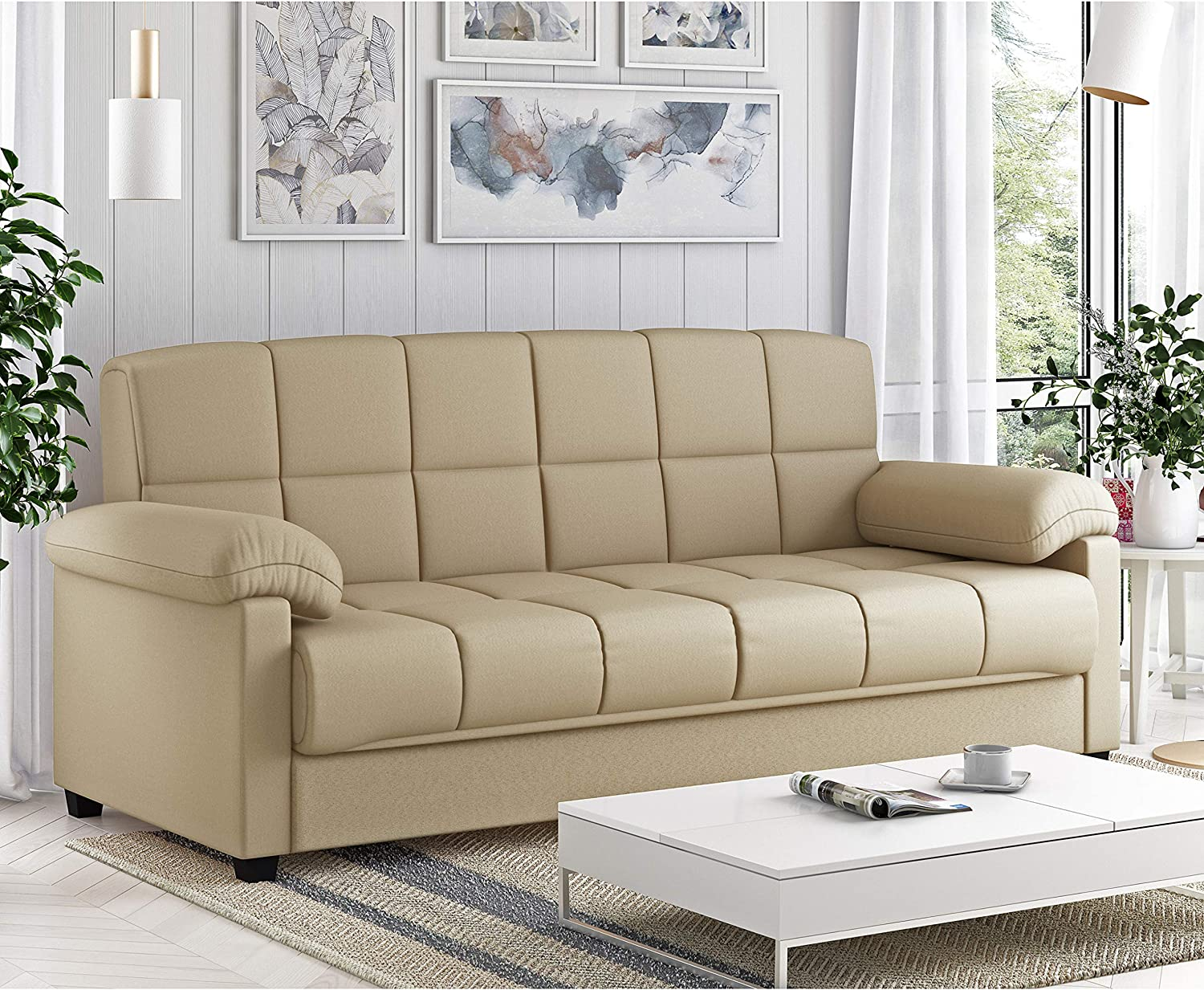 Handy Living Maurice Pillow Top Arm Convert A Couch In Mocha Microfiber Furniture Decor