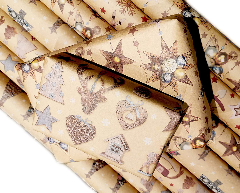 Aneco 100 St/ück Weihnachtspapieranh/änger Kraftpapier Weihnachten H/ängeschilder Weihnachtsbaum Schneeflocke Rentier Design mit 20 Meter Schnur f/ür Weihnachtsgeschenke DIY Kunstbedarf