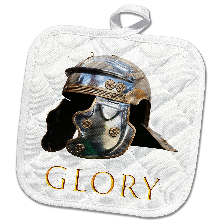 3dRose phl/_271904/_1 Pot Holder Ancient Roman military helmet on white Golden text GLORY 8 by 8