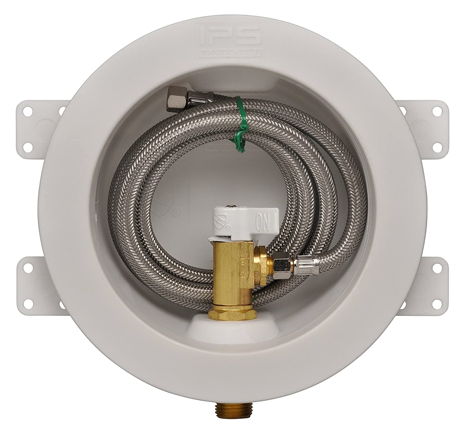 IPS CORPORATION GIDDS-284201 Ips Water-Tite Round Icemaker Valve Outlet Box with Quarter Turn Valve And Stainless Supply Line, Copper Sweat, Lead Free
