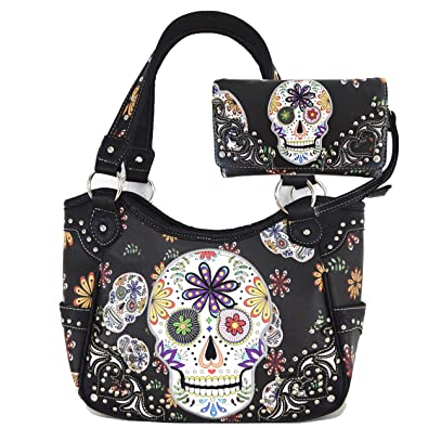 Sugar Skull Day of the Dead Halloween Western Punk Women s Rivet Shoulder  Bag Handbags With Wallet 2dc451df6be00