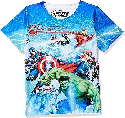 Marvel Avengers Boys Polyester Round Neck Short Sleeves Tshirt - Blue (DMA0006) Boys' T-Shirts at amazon