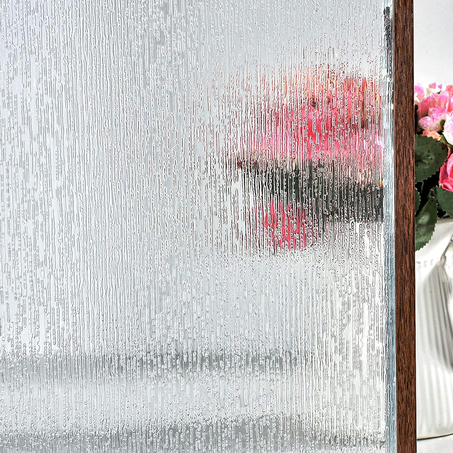 FEOMOS Rain Glass Window Film - Static Window Clings Privacy Window Decals Easy Removal UV Blocking for Glass (35.4 x 78.7 inches)