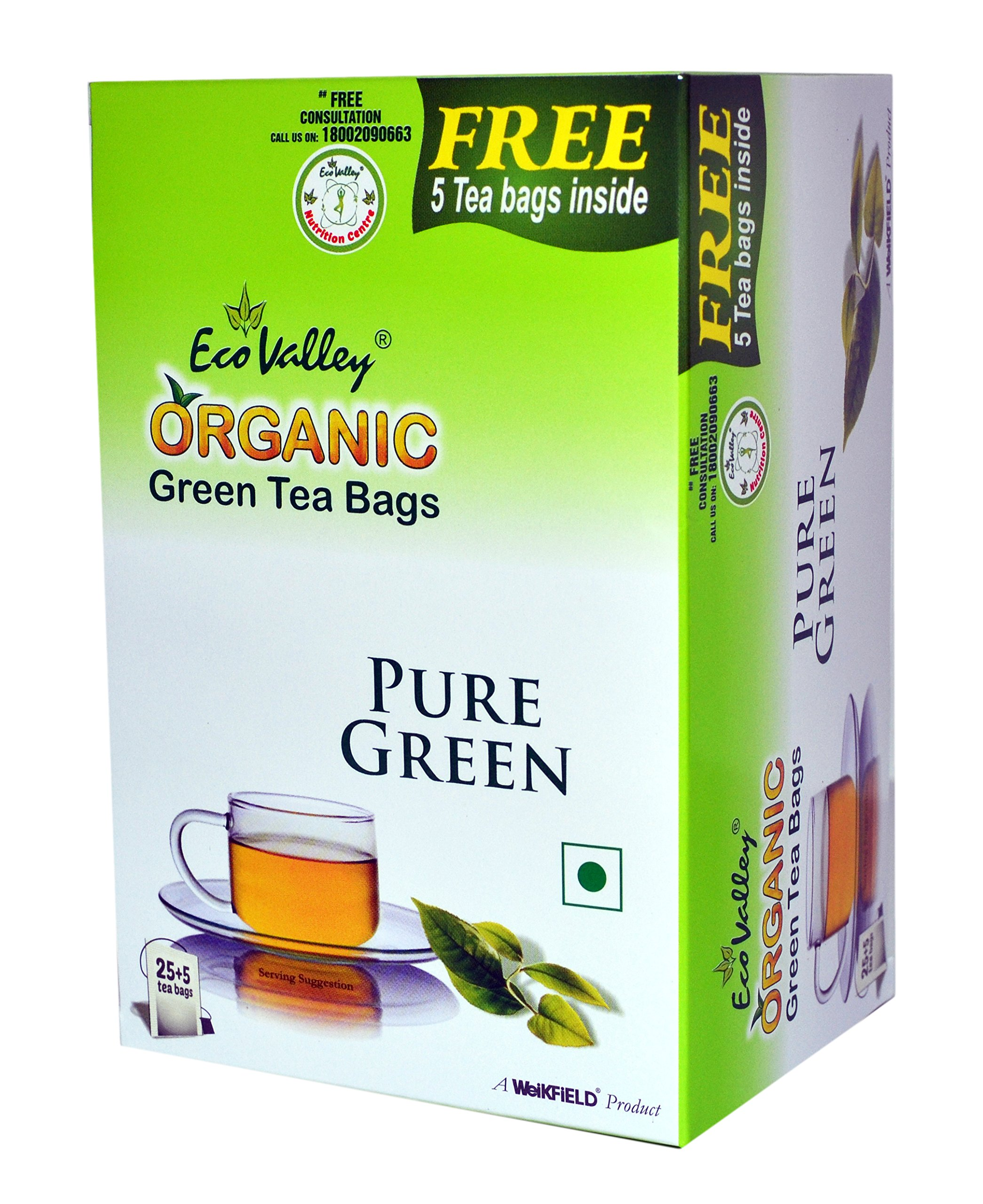 Eco Valley Organic Green Tea, Pure, 25 Tea Bags (Free 5 Tea Bags Inside)