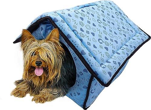 veZve Blue Dog House Medium Indoor Soft Pet Place with Warm Mat Detachable Top Portable Folding Comfortable Collapsible